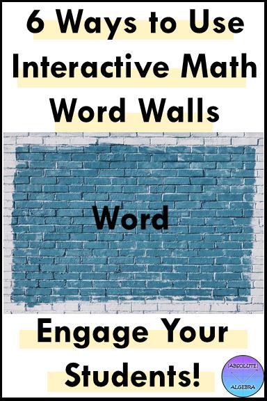 interactive math word wall ideas