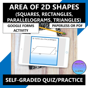 Area of 2D Shapes Google Forms
