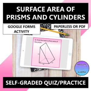 Surface Area Regular Prisms & Cylinders