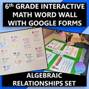 Interactive & Digital 6th Grade Math Word Wall Algebraic Relationships