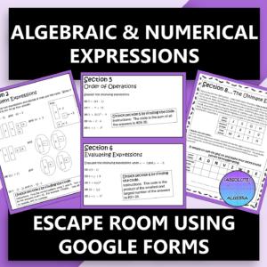 Algebraic Expressions Digital Escape Room