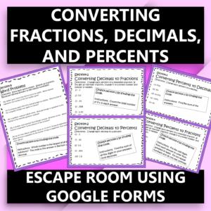 Converting Fractions, Decimals,Percents Digital Escape Room Distance Learning