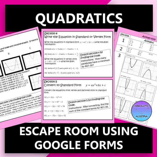 Quadratics Escape Room using Google Forms