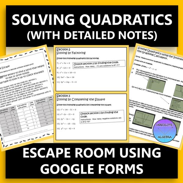 Solving Quadratics with Detailed Notes Digital Escape Room
