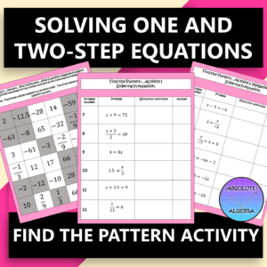 Solving One and Two Step Equations Find the Pattern Activity
