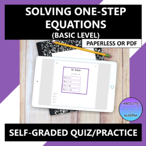 Solving One-Step Equations Google Form