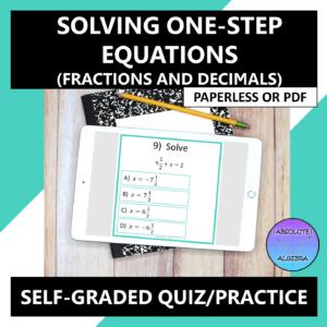 Solving One-Step Equations (Fractions & Decimals) Google Form
