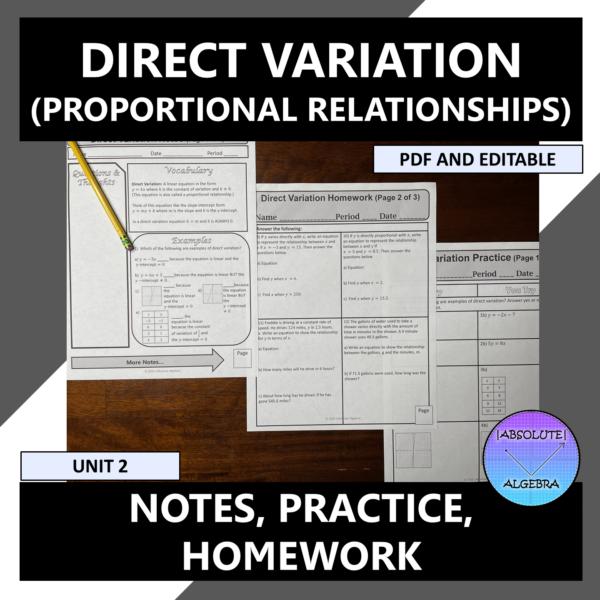Direct variations proportional relationships