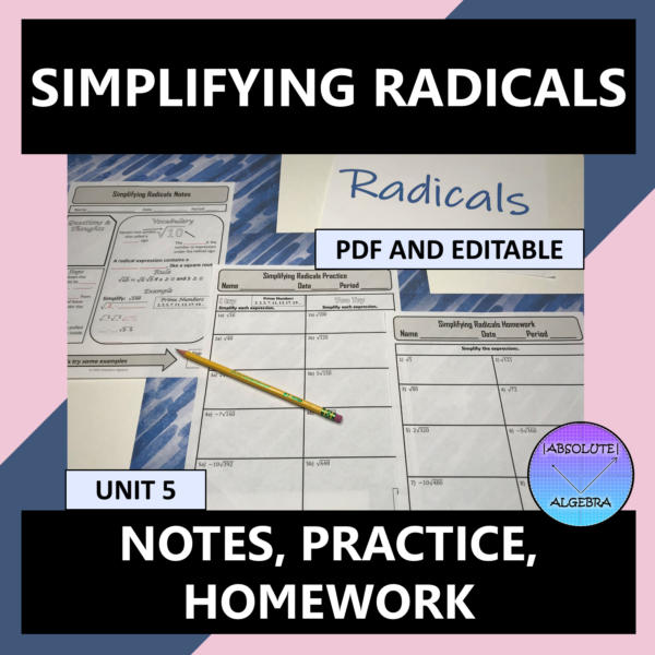 """This Algebra resource is 100% editable. It consists of notes in an """"I Try, You Try"""" format."""