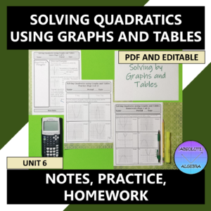 Solving Quadratics by Graphs and Tables Notes Practice Homework